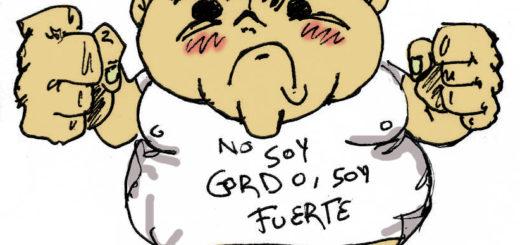 """Ilustração de homem obeso, com feição brava, mãos em posição de briga, vestindo camiseta branca com dizeres em espanhol """"não sou gordo, sou forte"""""""